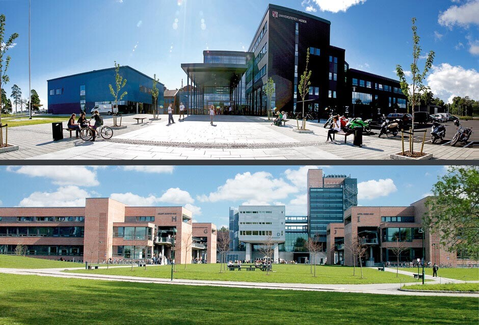 University of Agder - Campus Grimstad (top) and Campus Kristiansand