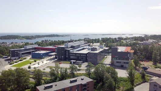 Campus Grimstad as seen from the air, photo.